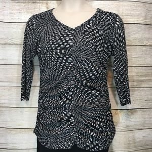 Coldwater Creek 3/4 sleeved polka dot Top  L/14